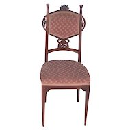 French LOUIS MAJORELLE Art Nouveau Mahogany Upholstered Side Chair