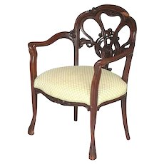French Art Nouveau Mahogany Upholstered Armchair