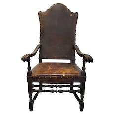 Spanish Baroque Walnut Tooled Leather Upholstery Armchair