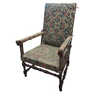 Rare French Louis XIII Cremaillere Walnut Upholstered Armchair