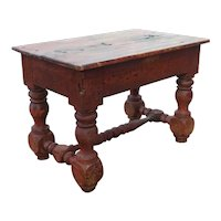 Early Rare Indian Colonial 17th Century Red Teak Rectangular Stool / Side Table