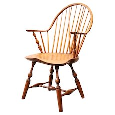 American Maple, Pine and Oak Windsor Continuous Arm Brace Back Armchair