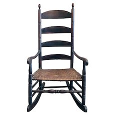 American Maple and Hickory Seat Ladderback Rocking Chair