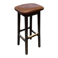 Arts and Crafts Style Oak and Leather Upholstered Bar Stool