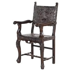Spanish Colonial Tooled Leather and Wood Upholstered Open Armchair