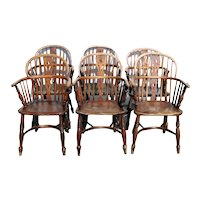 Set of Six English Elm and Oak Low Back Windsor Armchairs