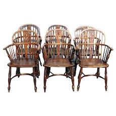 Set of Six English Elm and Oak Low Back Windsor Armchairs