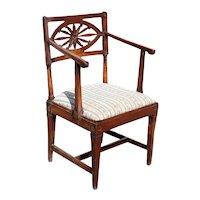 Italian Neoclassical Cherrywood Upholstered Seat Open Armchair