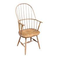English Georgian Windsor Oak/Hickory and Pine Tall Sack Back Armchair