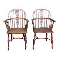 Pair of Signed English Yewwood and Elm Bow Back Windsor Armchairs