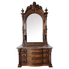 Fine Large American Victorian Renaissance Revival Ebonized Walnut Chest of Drawers and Mirror