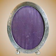 American Kerr Engraved Sterling Silver Oval Desk Easel Frame