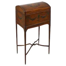 English Regency Painted Mahogany and Satinwood Domed Box on Stand