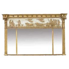 Empire Neoclassical Parcel Gilt Trumeau Mirror