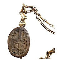 Ancient Egyptian Scarab Seal 14k Gold Pendant Necklace