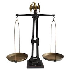 Large European Iron and Brass Eagle Counter 15 Kilogram Balance Scale