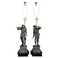 After CHARLES ANFRIE Pair of French Franco-Prussian Spelter Soldier Statues as Table Lamps