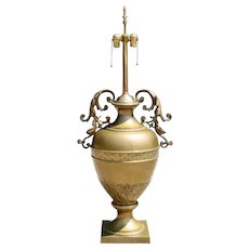 Large French Neoclassical Brass Two-Light Urn Form Table Lamp