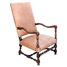 French Louis XIV Walnut Leather Upholstered Armchair