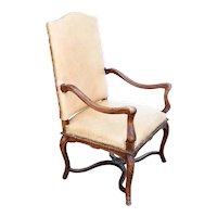 French Louis XIV Style Leather, Needlepoint and Beechwood Armchair