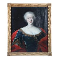 French School Rococo Oil on Canvas Painting, Portrait of a Noble Lady