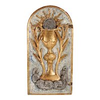 Italian Baroque Painted and Gilt Wood Arched Tabernacle Door