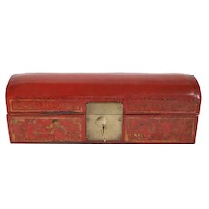 Chinese Qing Red Leather and Wood Domed Pillow Casket Box