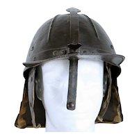 Northern European Steel and Leather Military Burgonet Pot Helmet (Zischägge)