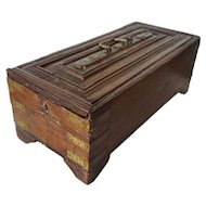 Anglo Indian Teak Slide-Top Brass Bound Box
