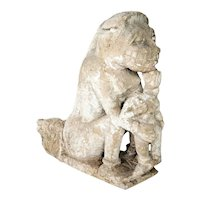 Indian Stone Vyala and Figure Architectural Bracket