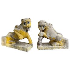 Pair of Northern Indian Painted Stone Lion Architectural Brackets