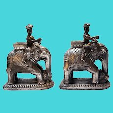 Pair of Indian Silver Sheet over Teak Elephants and Riders