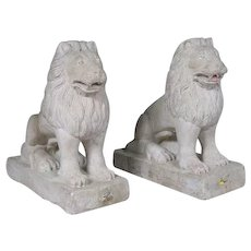 Pair of Anglo Indian Raj Period Stone Lion Carvings