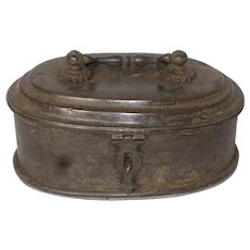 Indian Patinated Brass Betel Nut (Paan-Daan) Oval Box