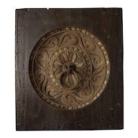 Indian Teak Architectural Panel with Iron Ring