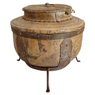 Indian Iron Mounted Round Teak Salt Box
