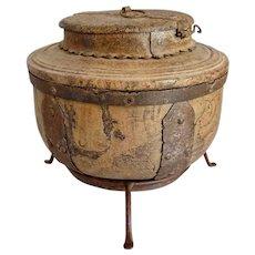 Indian Iron Mounted Round Teak Salt Box