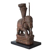 Antique Indian Hand Carved Rosewood Elephant Model as a Table Lamp