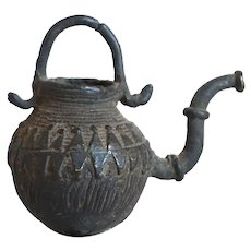 Small Indian Orissa Cast Bronze Dhokra Work Spouted Pot