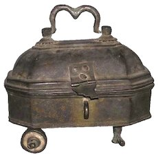 Small Indian Traditional Cast Brass Box on Wheels