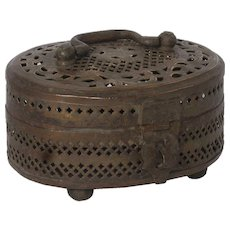 Indian Pierced Brass Cricket Cage Box