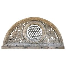 Indian Carved Teak and Iron Grille Arched Architectural Transom