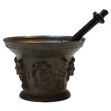 French Late Renaissance Bronze Mortar and Pestle