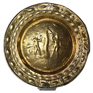Baroque Adam and Eve Brass Repousse Alms Plate