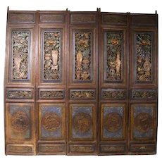 Chinese Painted Pine Paravent Screen