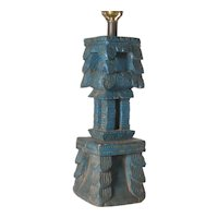 Indian Blue Painted Teak Architectural Fragment as a Table Lamp