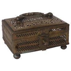 Small Indian Pierced Brass Cricket Box