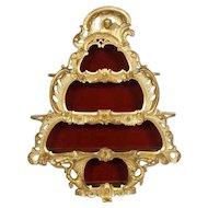 Scandinavian Rococo Style Giltwood Hanging Bijouterie Cabinet
