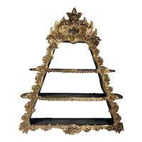 Danish Rococo Revival Giltwood Triangular Hanging Shelf