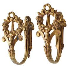 Pair of French Louis XVI Style Gilt Brass Curtain Tie Backs